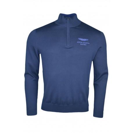 Pull col montant Hackett Aston Martine bleu marine en maille pour homme