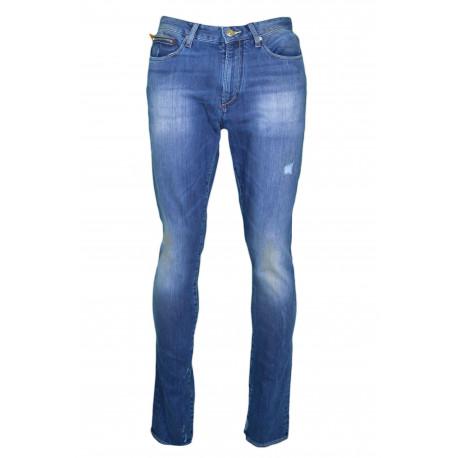 Jean Armani Exchange bleu coupe droite style destroy pour femme
