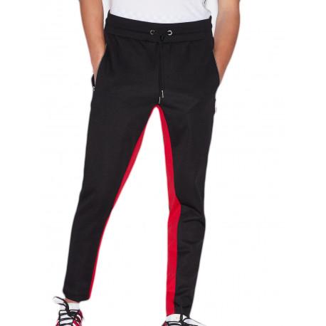 Jogging Armani Exchange noir lisérés rouge et blanc pour homme