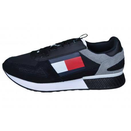 Baskets Tommy Jeans noire et grise à semelle compensées pour homme