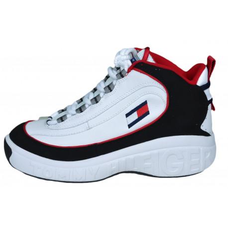 Baskets mode Tommy Hilfiger blanche noire et rouge pour femme