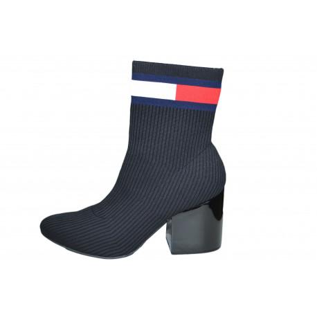 Bottines chaussette à talon Tommy Jeans noires en coton pour femme