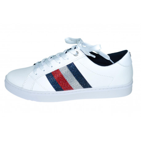 Baskets Tommy Hilfiger blanches bandes strass pour femme