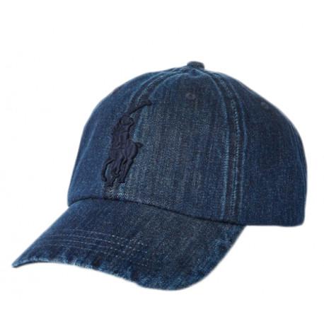 Casquette Ralph Lauren bleu jeans pour homme