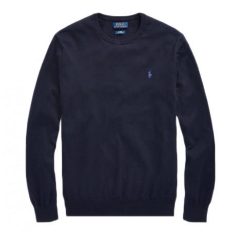 Pull Ralph Lauren bleu marine col rond pour homme