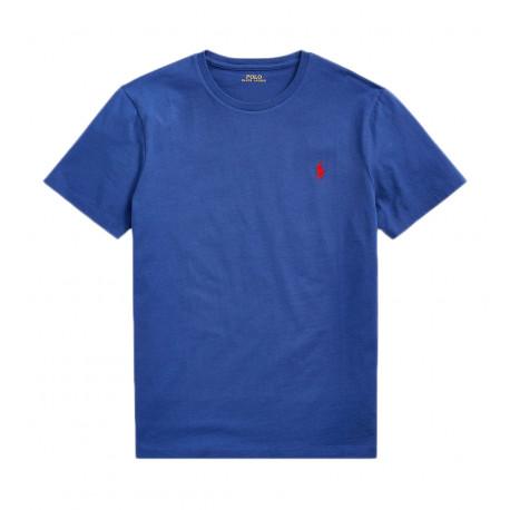 T-Shirt Ralph Lauren bleu logo rouge pour homme