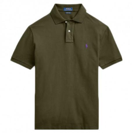 Polo Ralph Lauren vert kaki logo violet pour homme