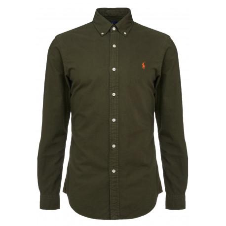 Chemise Ralph Lauren Oxford vert kaki logo orange pour homme
