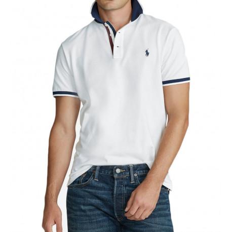 Polo Ralph Lauren blanc col marine pour homme