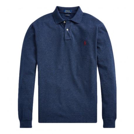 Polo Ralph Lauren bleu manches longues pour homme