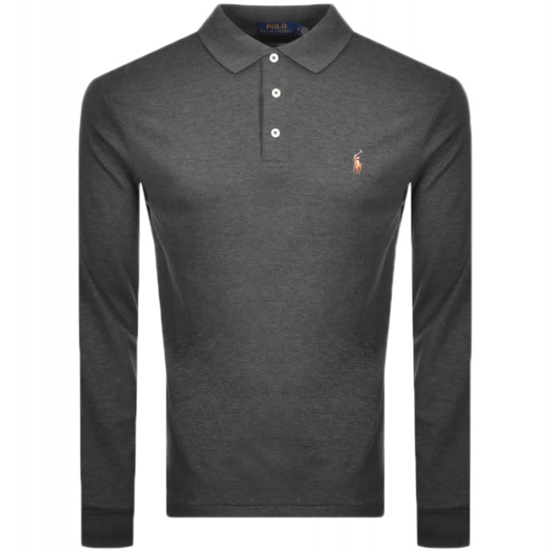 Polo Ralph Lauren gris anthracite manches
