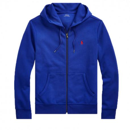 Veste Sweat Ralph Lauren bleu logo rouge pour homme