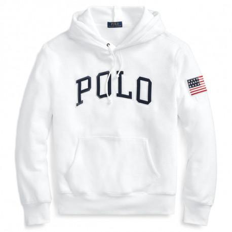 Sweat capuche polaire Ralph Lauren blanc pour homme