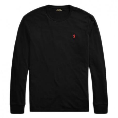 T-Shirt Ralph Lauren noir manches longues logo rouge pour homme