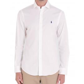 Chemise Ralph Lauren blanche logo marine slim fit pour homme