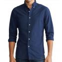 Chemise Ralph Lauren bleu marine Oxford logo ton sur ton pour homme