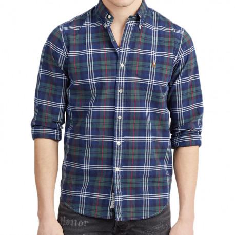 Chemise Ralph Lauren à grands carreaux vert et bleu pour homme