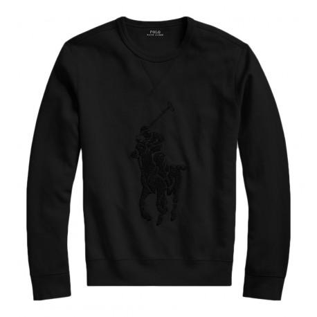 Sweat Ralph Lauren noir Big logo ton sur ton pour homme