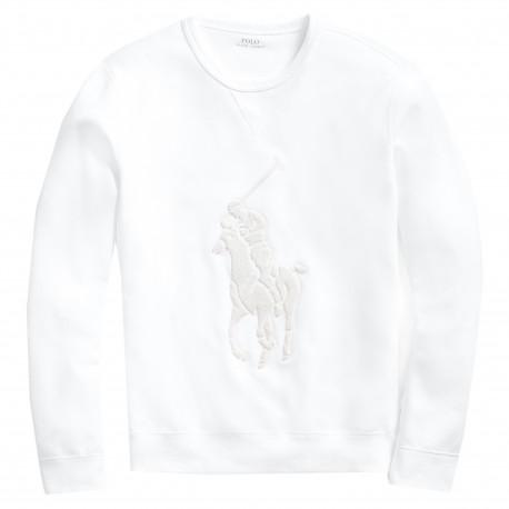 Sweat Ralph Lauren blanc Big logo ton sur ton pour homme