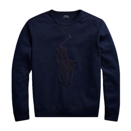 Sweat Ralph Lauren marine Big logo ton sur ton pour homme