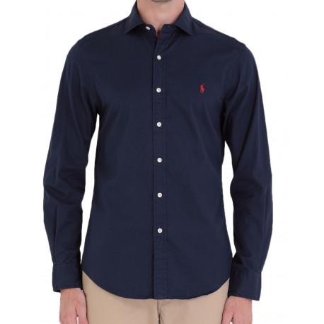 Chemise Ralph Lauren bleu marine logo rouge pour homme