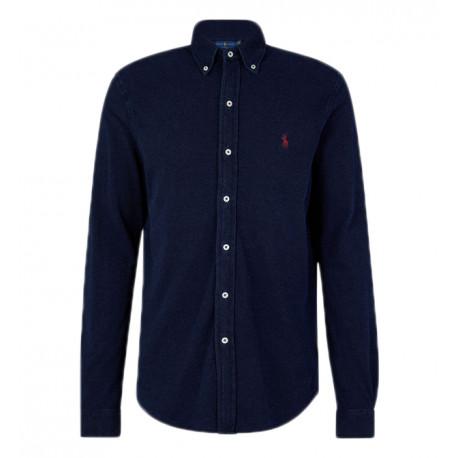 Chemise Ralph Lauren coton mesh bleu marine logo rouge pour homme