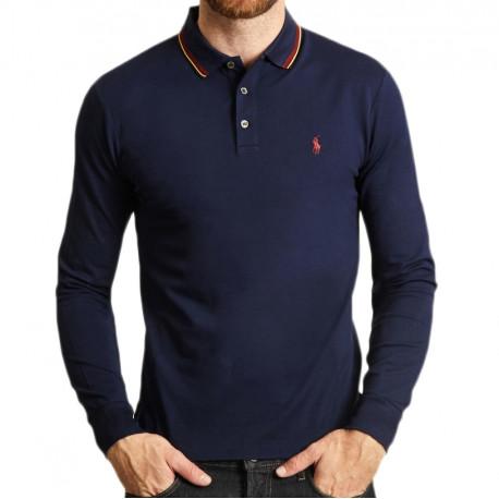 Polo Ralph Lauren bleu marine col tricolore manches longues pour homme
