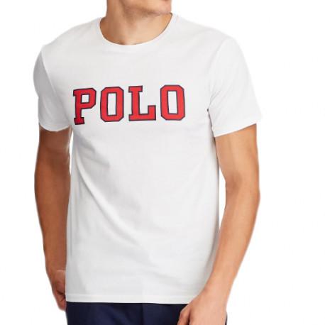 """T-Shirt Ralph Lauren blanc écriture """"POLO"""" pour homme"""