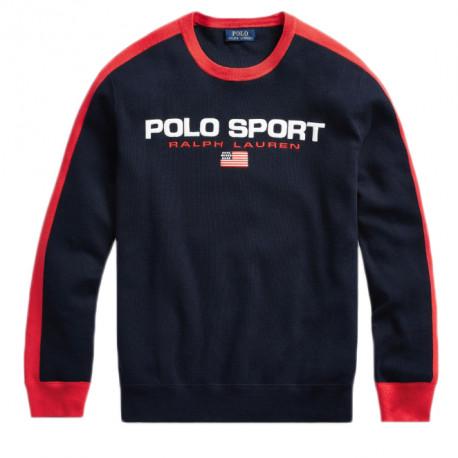 Pull Ralph Lauren Polo Sport bleu bandes rouge col rond pour homme
