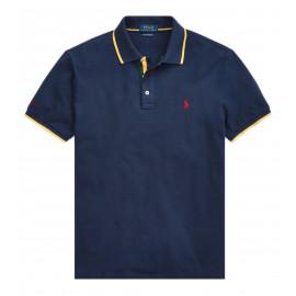 Polo Ralph Lauren bleu marine liserés jaune pour homme