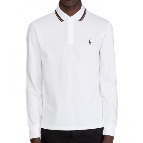 Polo Ralph Lauren blanc col tricolore manches longues pour homme