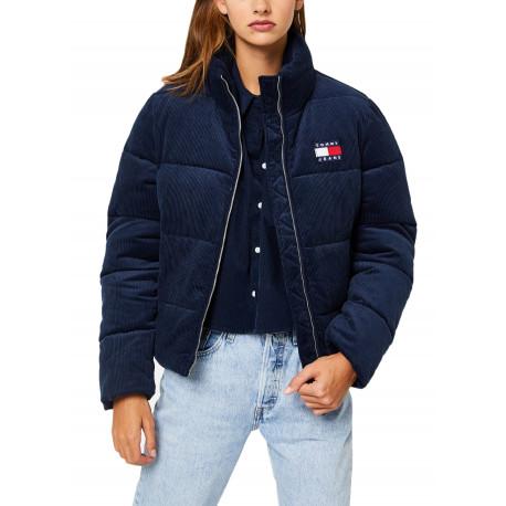 Doudoune courte velours Tommy Jeans bleu marine pour femme