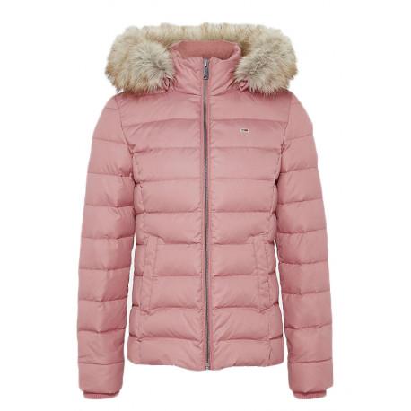 Doudoune courte Tommy Jeans rose imitation fourrure pour femme