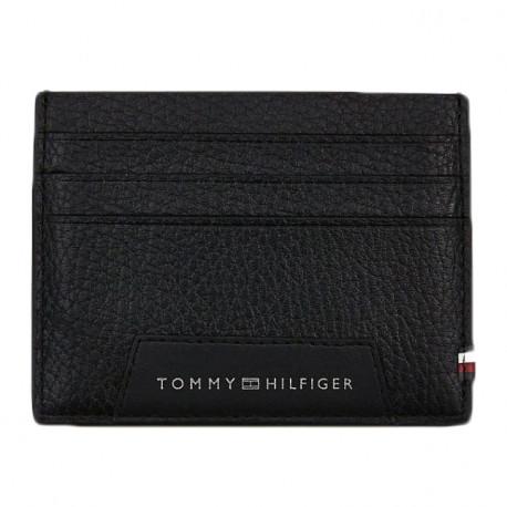 Porte-cartes Tommy Hilfiger noir en cuir pour homme