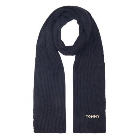 Écharpe en maille Tommy Hilfiger marine signature dorée pour femme