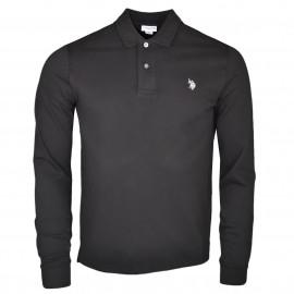 Polo manches longues U.S Polo noir logo argenté pour homme