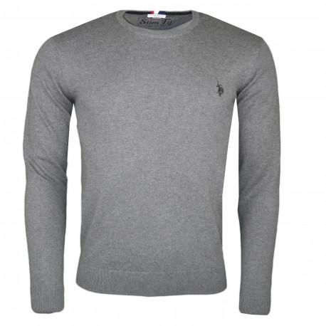 Pull col rond U.S Polo gris foncé logo noir en coton pour homme
