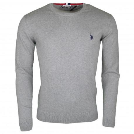 Pull col rond U.S Polo gris logo bleu marine en coton pour homme
