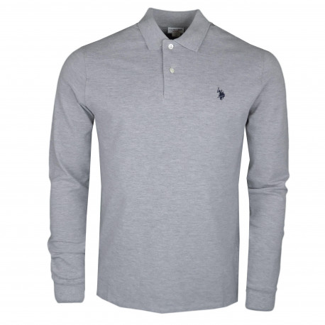 Polo manches longues U.S Polo gris logo bleu marine pour homme