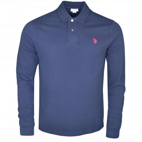 Polo manches longues U.S Polo bleu marine logo rouge pour homme