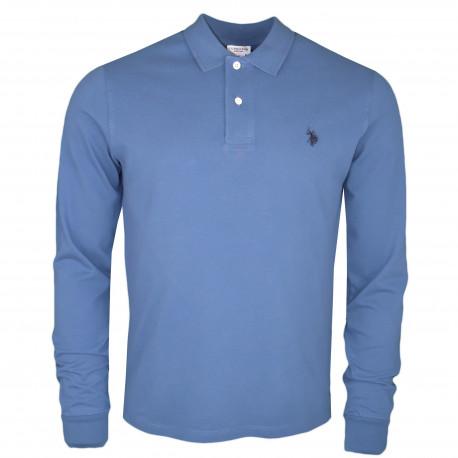 Polo manches longues U.S Polo bleu indigo logo bleu marine pour homme