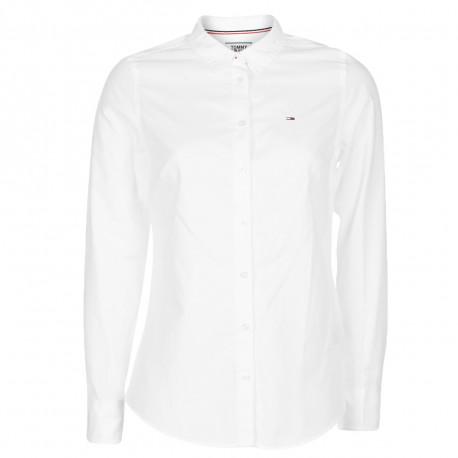Chemise Tommy Jeans blanche basique ajustée pour femme