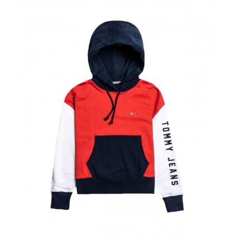 Sweat à capuche Tommy Jeans Bleu marine rouge et blanc cour et large pour femme