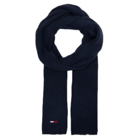 Echarpe Tommy Jeans bleu marine en coton tricoté pour homme