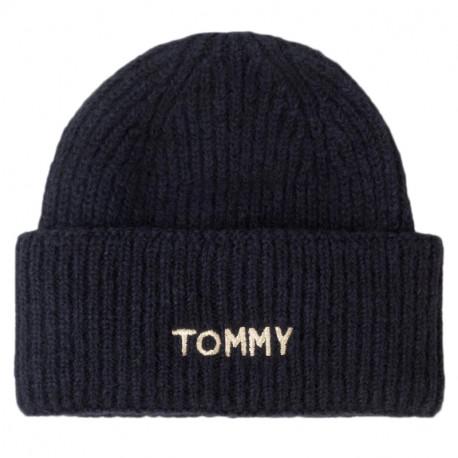 Bonnet Tommy Hilfiger bleu marine logo doré pour femme