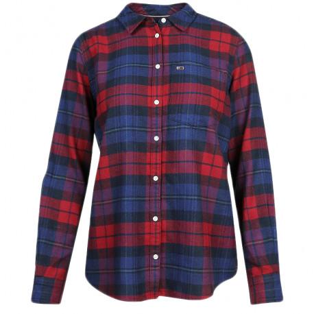 Chemise écossaise Tommy Jeans bleu marine et rouge droite pour femme