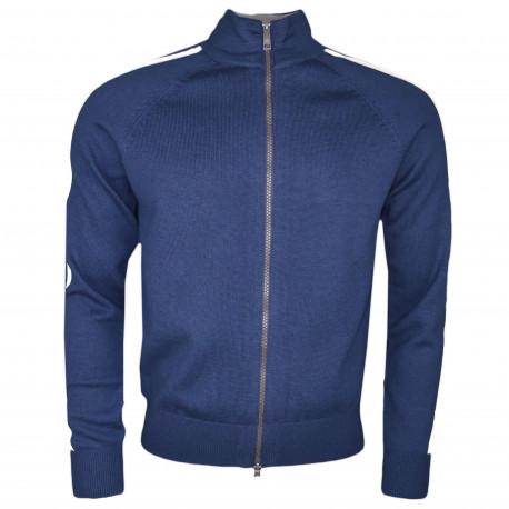 Veste zippée en maille La Martina Maserati bleu marine pour homme