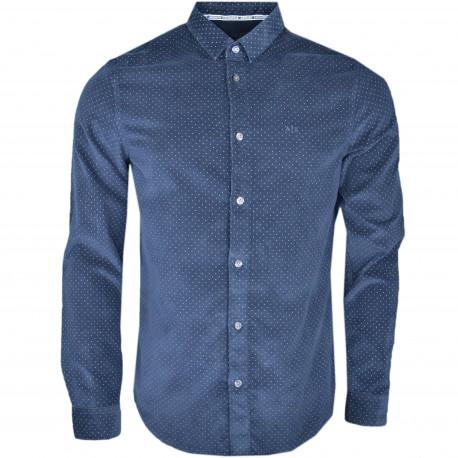 Chemise Armani en velours bleu marine pour homme