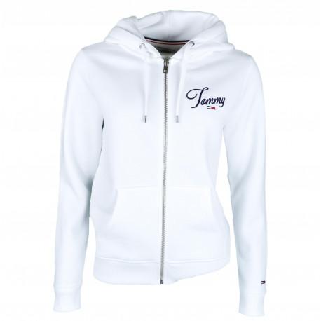 Veste zippée à capuche Tommy Jeans blanche pour femme