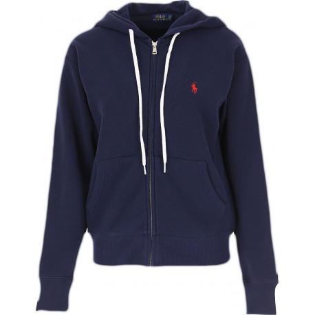 Veste sweat Ralph Lauren bleu marine logo rouge à capuche pour femme